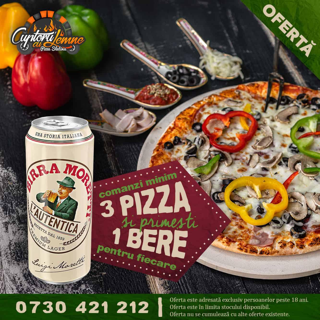 Pizza Slatina cuptoru cu Lemne